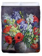 Poppies And Irises Duvet Cover by Anthea Durose