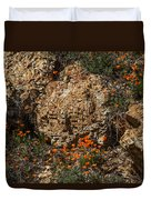 Poppies And  Rocks Duvet Cover