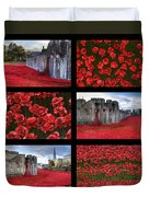 Poppies At The Tower Collage Duvet Cover