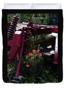 Poppies Growing Amongst Farm Machinery In A Farmyard Near Pocklington Yorkshire Wolds East Yorkshire Duvet Cover