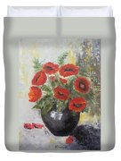 Poppies In A Vase Duvet Cover