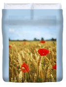 Poppies In Grain Field Duvet Cover by Elena Elisseeva