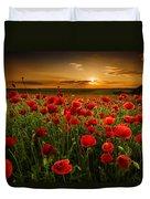 Poppy Field At Sunset Duvet Cover