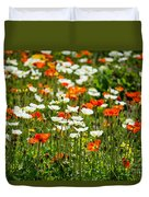 Poppy Fields - Beautiful Field Of Spring Poppy Flowers In Bloom. Duvet Cover