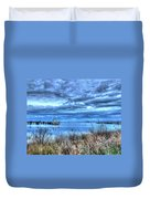 Poquoson Yacht On Stormy Morning Duvet Cover