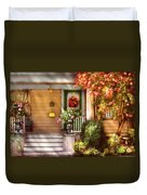 Porch - Cranford Nj - Simply Pink Duvet Cover by Mike Savad