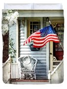Porch With Flag And Wicker Chair Duvet Cover