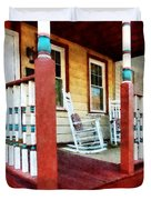Porch With Red White And Blue Railing Duvet Cover by Susan Savad