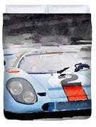Porsche 917 Gulf Watercolor Duvet Cover