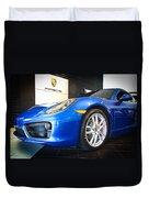 Porsche Cayman S In Sapphire Blue Duvet Cover