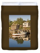 Port Clyde Maine Boats And Harbor Duvet Cover