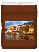 Port Life Watercolor Duvet Cover