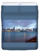 Port Of Miami At Dusk Duvet Cover