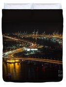 Port Of Miami Macarthur Causeway Duvet Cover