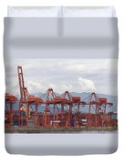 Port Of Vancouver Bc Cranes And Containers Duvet Cover