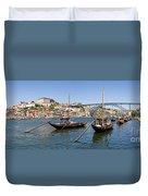 Port Wine Boats In Porto City Duvet Cover