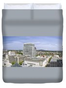 Portland Downtown Cityscape With River And Mountain Duvet Cover