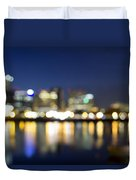 Portland Downtown Out Of Focus City Lights Duvet Cover
