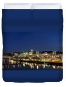 Portland Downtown Skyline At Blue Hour Duvet Cover