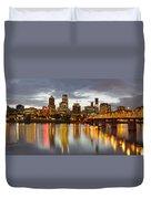 Portland Downtown Skyline At Sunset Duvet Cover