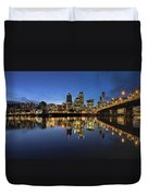Portland Downtown Skyline By Hawthorne Bridge At Blue Hour Panor Duvet Cover