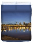 Portland Downtown With Hawthorne Bridge At Dusk Duvet Cover