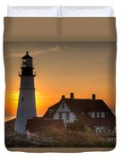 Portland Head Light At Sunrise IIi Duvet Cover