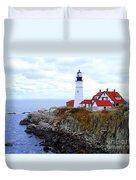 Portland Head Light House In Maine Duvet Cover
