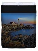 Portland Head Light Sunrise Duvet Cover
