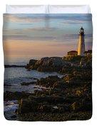 Portland Head Lighthouse At Dawn Duvet Cover