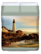 Portland Head Lighthouse At Dawn Duvet Cover