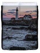 Portland Head Lighthouse Sunset Duvet Cover