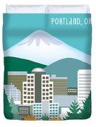 Portland Oregon Vertical Skyline Duvet Cover