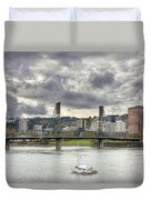 Portland Oregon Downtown Along Willamette River Duvet Cover