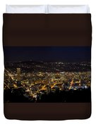 Portland Oregon Downtown Cityscape At Night Duvet Cover
