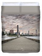 Portland Oregon Downtown Skyline By The Marina At Sunset Duvet Cover