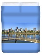 Portland Oregon Downtown Skyline Panorama 2 Duvet Cover