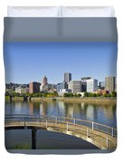 Portland Oregon Downtown Skyline Reflection 4 Duvet Cover