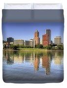 Portland Oregon Downtown Skyline Reflection Duvet Cover