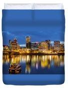 Portland Oregon Downtown Waterfront At Blue Hour Duvet Cover