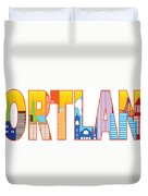 Portland Oregon Skyline Text Outline Color Illustration Duvet Cover