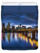 Portland Oregon Waterfront At Blue Hour Duvet Cover