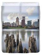 Portland Oregon Waterfront Duvet Cover