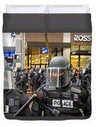 Portland Police In Riot Gear Closeup Duvet Cover