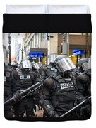 Portland Police In Riot Gear Duvet Cover