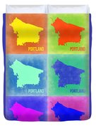 Portland Pop Art Map 3 Duvet Cover