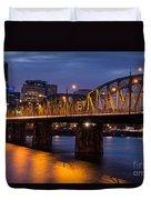 Portland Skyline And Hawthorne Bridge Duvet Cover