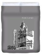Portland Skyline Hollywood Theater - Pewter Duvet Cover