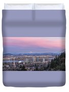 Portland South Waterfront At Sunset Panorama Duvet Cover