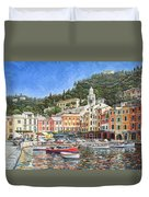 Portofino Italy Duvet Cover by Mike Rabe